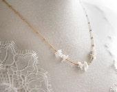 611_Beach wedding necklace, Coral necklace, Bridal necklace, Gold necklace, White coral necklace,  Chain bracelet, 2 in 1,Wedding accessory.