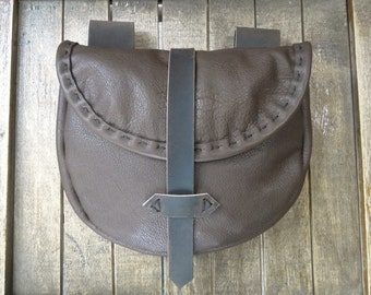 Medieval Leather Pouch, Renaissance Bag, Dark Brown Leather, Strap Closure