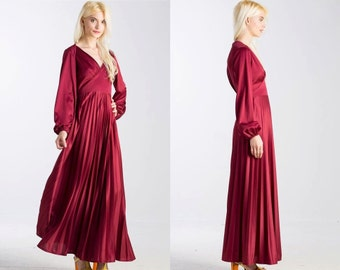 Vintage Ox Blood Red 70s Maxi Pleated Long Sleeve Dress
