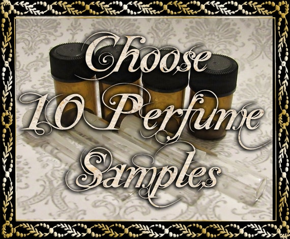 Artisan Perfume Samples: Choose Ten (10) 1mL or 2mL Samples, Perfume Oil, Cologne Oil, Apothecary Fragrance, Ships Out in 5-8 Days