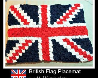 C2C Graph, British Flag Placemat , C2C Graph,  Written Word Chart, British flag graph, flag c2c, c2c placemat