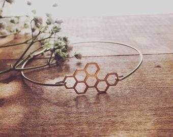 HONEY BAE golden honeycomb dainty minimal stacking queen bee bangle