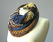 knit scarf, Finger Knitted infinity scarf, necklace, colorfull handmade neckwarmer, autumn winter fashion women accessories