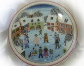 On Sale 1970's Vintage Villeroy & Boch Naif Christmas Porcelain - Signed Laplau - Trinket, Jewelry, Pin Box,- Gorgeous