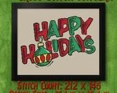 Happy Holidays Ornament Cross Stitch Pattern - Instant Download PDF - Modern Cross Stitch Design