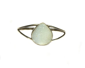 925 Sterling Silver Cuff Bracelet studded Rare fine quality White Full Druzy Stone , Cabochon silver jewellery bangle