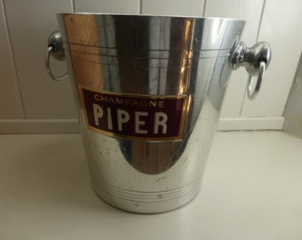 Vintage Champagne Ice Bucket Champagne Piper French Advertising Hotel / Bistro Ware