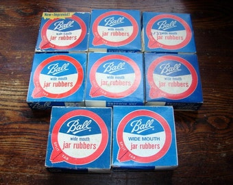 Large Lot of 8 Boxes of Ball Wide Mouth Jar Rubbers with Split Tabs ~ New Old Stock