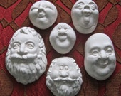 YOUR CHOICE FG Silicone Doll Face Cab Cabochon Casting Molds - Santa or Wizard & Mrs. Claus or Female Character by Art of Two M's