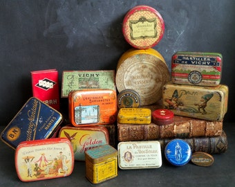 17 Antique and Vintage French Tins Shabby Chic. Instant collection .