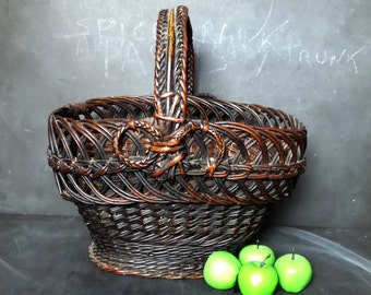 Amazing antique French wicker  basket .1850s . French country decor .