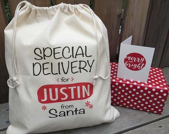 Personalised Christmas Sack - Santa Sack - Christmas Gift Sack - Special Delivery from Santa