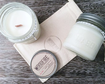 CEDAR & PATCHOULI Crackling Wood Wick Mason Jar Soy Candle Perfect Gift with Cotton Bag