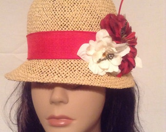 Tan Straw Cloche with Red Embellishments and Ostrich Feather