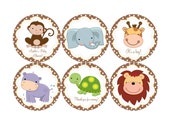Baby Safari Jungle animals Edible cookie toppers cupcake tops party decoration birthday baby shower tranfers 1 dozen