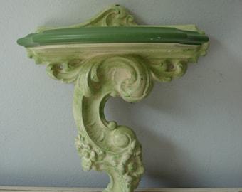 Vintage Ornate Wall Shelf/Green Scrolled Wall Shelf/Syroco Wall Shelf