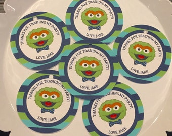 SESAME STREET BOWTIE Inspired Happy Birthday or Baby Shower Favor Tags or Stickers One Dozen {Set of 12} - Party Packs Available