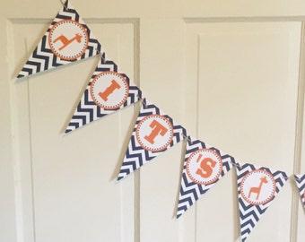 "PREPPY GIRAFFE Birthday ""It's a Boy"" Baby Shower Banner  - Navy Orange Chevron - Party Packs Available"