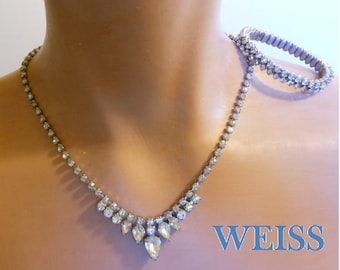 Weiss rhinestone necklace and bracelet, demi-parure with Austrian crystal clear rhinestones, great as a bridal necklace and bracelet