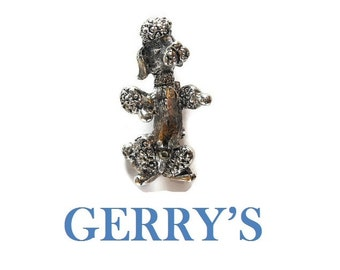 Gerry's poodle brooch pin signed Gerry's, gold tone, textured