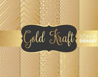 60% OFF SALE Gold Kraft, Kraft Digital Paper, Gold Digital Paper, Kraft Texture, Kraft Backgrounds, Kraft Paper Digital DP134