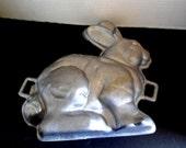 Vintage Easter Bunny 3-D Cake Mold Heavy Cast Aluminum c. 1950s Metal Rabbit Chocolate Mold  / Pound Cake Mold / Jello Mold