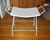 Vintage Saddle Bench Mid Century Modern Vanity Seat White Wrought Iron Stool