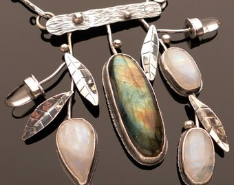 Flashy Botanical Statement Necklace Sterling silver, moonstone, labradorite and rock crystal