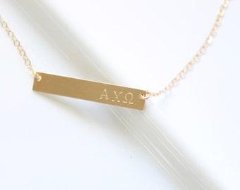 ALPHA CHI OMEGA Sorority Necklace  - Official Licensed Designer -  Hand stamped Sorority Bar Necklace, Greek Bar Necklace, Sorority Jewelry