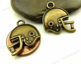 6 Football Helmet Charms ( Double Sided ) Antique Bronze Tone Metal - 18x20mm - Sports Charms, Athletic Charms - BE8