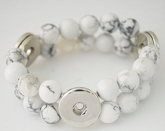 1 White Howlite Beaded Elastic Bracelet - FITS 18MM Candy Snap Charm Jewelry Silver kb4552 CJ0210