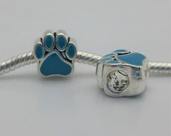 3 Beads- Blue Paw Print Enamel Silver European Bead Charm E1538