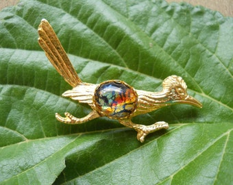 Golden Roadrunner Brooch with Dichroic Glass Cabochon
