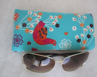 Sunglass / eyeglass case lined and padded in random birds butterflies and flowers print RTS