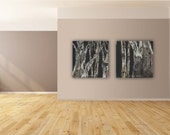 Black and white LARGE set wall art diptych tree artwork giclee print canvas office kitchen bedroom living dining room office decor