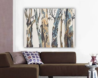 Extra LARGE ORIGINAL acrylic painting trees trunks landscape wall canvas art pastels office artwork white neutral dining room