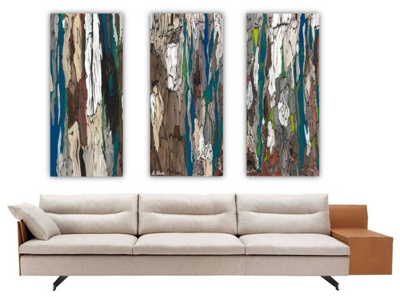 wall triptych large canvas prints trees blue teal
