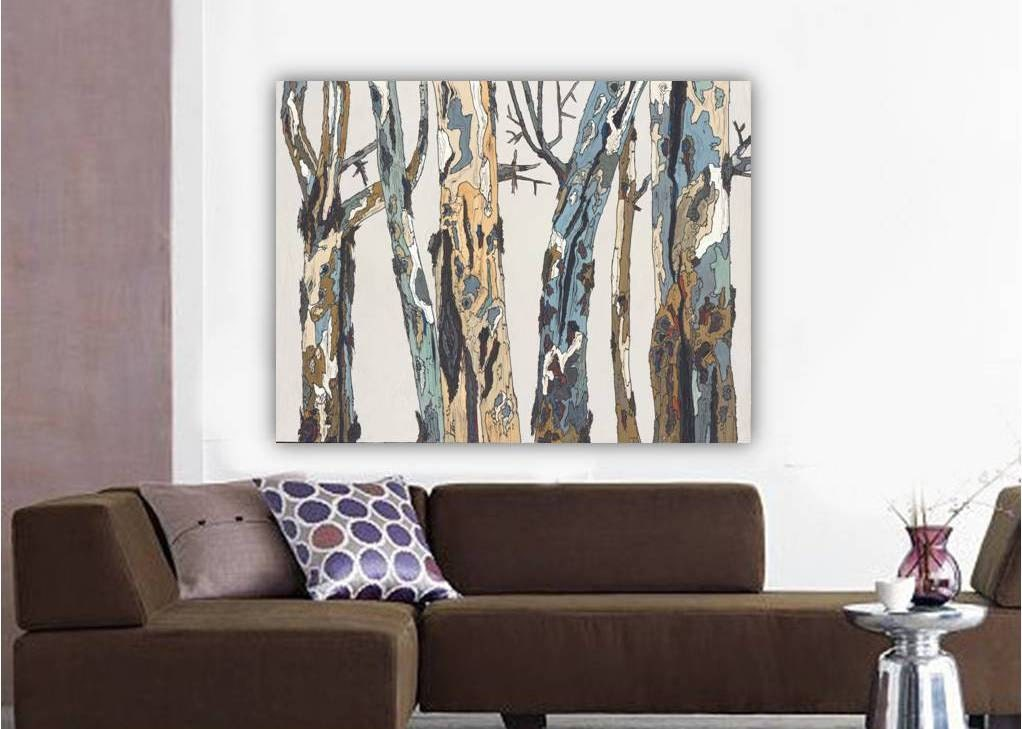 Extra large original acrylic painting trees trunks landscape for Dining room wall art canvas