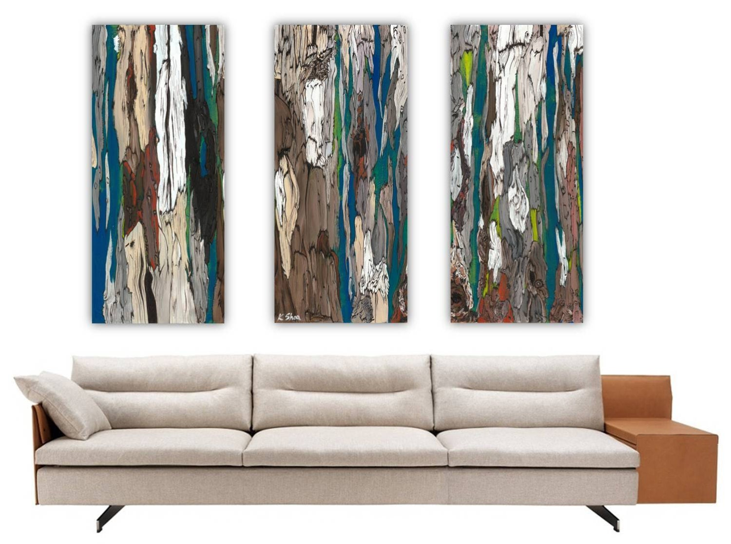 Wall art triptych extra large canvas prints trees blue teal for Extra large wall art