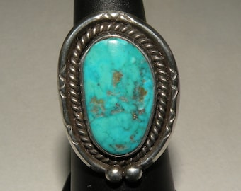 Classic Southwestern Turquoise and Sterling Ring Size 5 1/2