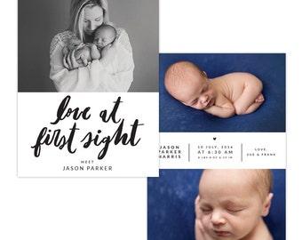 INSTANT DOWNLOAD - Photoshop Birth announcement template -  e1297
