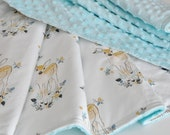 Gender Neutral Baby Blanket, Minky blanket, Fawn Baby Blanket, Toddler Blanket, Blanket-bib-burp cloth set