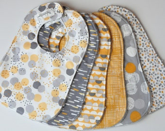 Gender Neutral Baby Bibs, Gray/Gold Baby Bibs, Set of 6 baby/toddler bibs