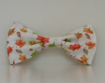 Autumn Leaves Watercolor Dog Bow Tie Wedding Accessories Thanksgiving Made to Order
