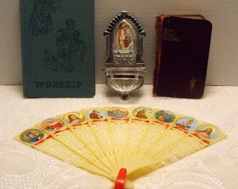 Lot of Vintage Religious Items Holy Water Font / Plastic Fan Jesus / Common Prayer Hymns Book / Book of Worship