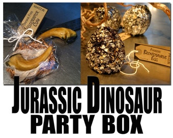 Jurassic Dinosaur Party Box contains 8 Full-Size Velociraptor Claw Cookies & 8 Fossilized Brontosaurus Treats, Quantity: 1 box of 16 Treats