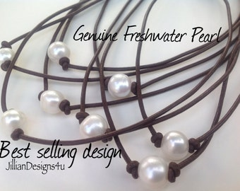 Pearl Leather necklace, Pearl Leather Choker, Genuine freshwater  pearl, Gift for her,  Boho, Surfer, June Birthday,  Leather Pearl necklace