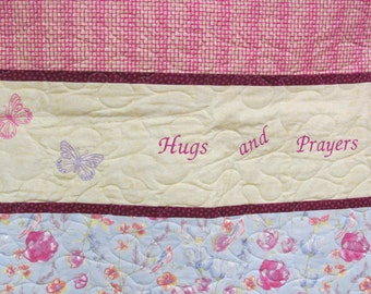 Prayer Quilt-Hugs and Prayers-Butterflies, Birds-Beautiful Colors-Embroidery/Pieced/Quilted