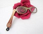 50's Lorgnettes Reading Glasses Hong Kong Folding Bronze Rhinestone Eyeglass