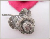 Sterling Marcasite Rose Brooch 925 Signed Wedding Pin